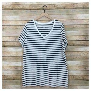 Ava & Viv Striped V-Neck Tee – Black/White – 2X